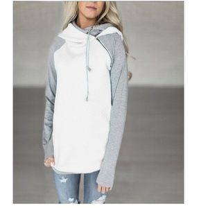 Tops - White and grey hoodie